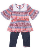 Little Lass Girls 2-Pc. Peach Navy Disco Dot Denim Legging Set