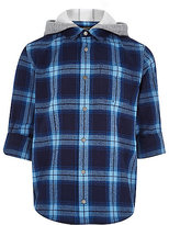 River Island Boys blue check jersey hood shirt