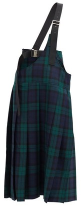 Junya Watanabe Shoulder-strap Pleated Tartan Wool Kilt - Green Multi