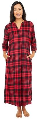 Donna Karan Flannel Maxi Sleepshirt (Lips Plaid) Women's Pajama