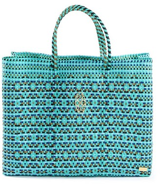 Lolas Bag Turquoise Book Tote Bag With Clutch