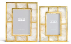 Twos Company Two's Company White Quartz Photo Frames with Brass Trim in Gift Box - Set of 2