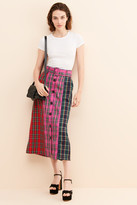 Thumbnail for your product : ENGLISH FACTORY Contrast Plaid Midi Skirt