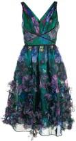 Marchesa floral-appliqued midi dress