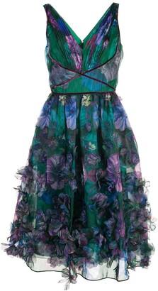 Marchesa Notte Floral-Appliqued Midi Dress