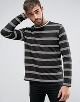 Ps By Paul Smith Stripe Long Sleeve Top In Black