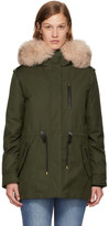 Mackage SSENSE Exclusive Green & Pink Down Chara Parka