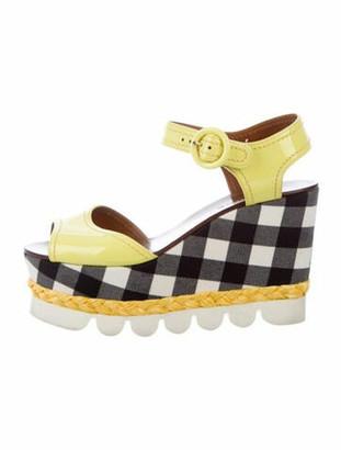 Dolce & Gabbana Patent Leather Plaid Print Sandals Yellow