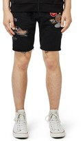 Topman Men's Ripped Slim Fit Cutoff Shorts With Badges