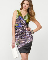 Le Château Abstract Print Satin Wrap Dress