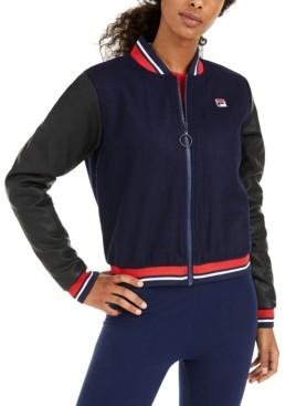 Fila Anais Varsity-Stripe Bomber Jacket