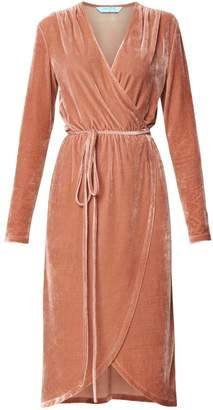 Paisie Velvet Tie Wrap Dress With Gathered Shoulders In Blush
