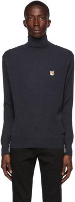 MAISON KITSUNÉ Navy Merino Fox Head Sweater