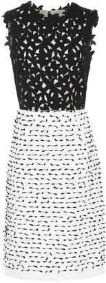 Oscar de la Renta Tweed and guipure lace shift dress
