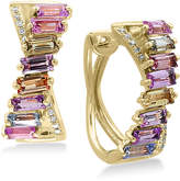 Effy Watercolors Multi-Sapphire (2-5/8 ct. t.w.) and Diamond Accent Hoop Earrings in 14k Gold, Created for Macy's