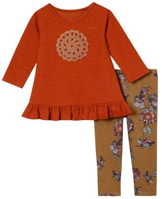 Pippa Pastourelle by and Julie Long Sleeve Knit Top & Print Leggings 2-Piece Set (Baby Girls)