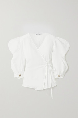REJINA PYO Mia Linen And Cotton-blend Wrap Top