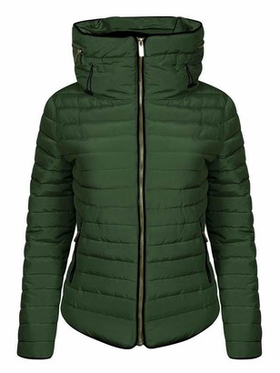 Love My Fashions Womens Jacket Parka Padded Puffer Bubble with Faux Fur Fitted Collar - Ladies Quilted Hood Outwear Long Sleeve Curved Hem Winter Knitted Zip Up Warm Coat for Holidays and Traveling