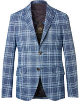 Etro Blue Checked Cotton and Linen-Blend Blazer