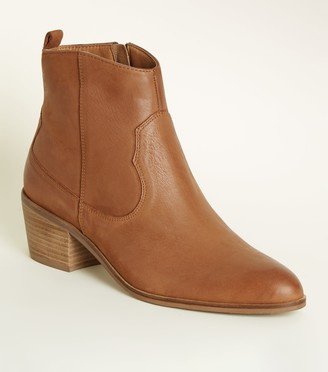 New Look Leather Western Ankle Boots