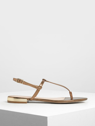 Charles & Keith Gold Mini Heel T-bar Sandals