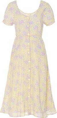 LoveShackFancy Regina Floral-Print Cotton Midi Dress