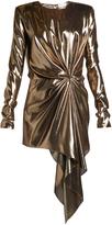 Saint Laurent Gathered draped-front lamé mini dress