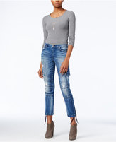 True Religion Halle Cast Off Wash Ripped Cargo Jeans
