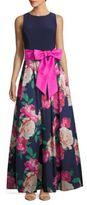 Eliza J Jewelneck Floral-Print Sleeveless Gown