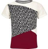 River Island Girls white animal mesh panel t-shirt