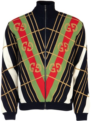 Gucci GG Diagonal Striped Zip-Up Cardigan