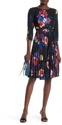 T Tahari Floral Pleated Fit & Flare Dress