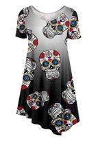 Silver Sugar Skull Asymmetrical Tunic - Plus Too