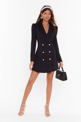 Nasty Gal Womens Take It for a Pearl Mini Blazer Dress - black - 6