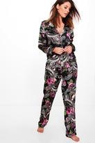 boohoo Olivia Satin Dark Floral Paisley Trouser PJ Set multi