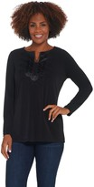 Susan Graver Liquid Knit Split-Neck Tunic with Faux Leather Trim