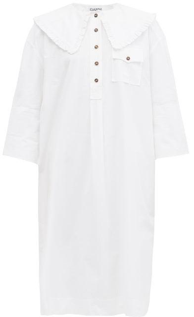 Ganni Ruffled-collar Organic-cotton Poplin Shirt Dress - White