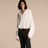 Burberry Ruffle Detail Cotton Voile Tunic