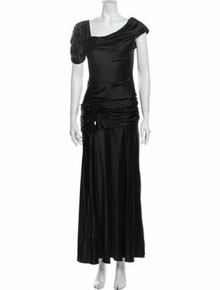 J. Mendel Silk Long Dress Black