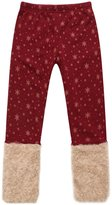 Richie House Girls' Pants with Gold Snowflakes and Fluffy Cuffs RH0886-B