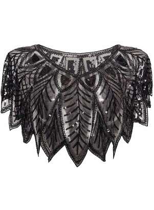 keland 1920s Womens Shawl Sequin Beaded Evening Cape Shrug Floral Deco Wraps(Silver)