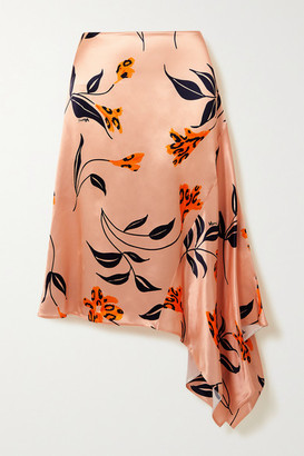 Marni - Asymmetric Floral-print Satin Skirt - Pastel pink