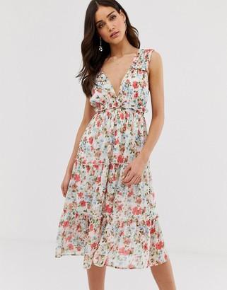Vila watercolour floral midi dress