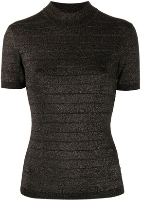 Karl Lagerfeld Paris Short-Sleeve Lurex Top