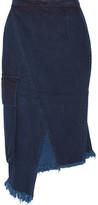 Marques Almeida Marques' Almeida - Asymmetric Frayed Wrap-effect Denim Skirt - Dark denim