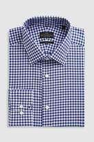 Mens Next Navy Slim Fit Single Cuff Signature Gingham Shirt - Blue
