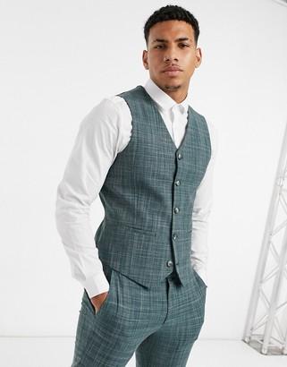 ASOS DESIGN wedding skinny suit suit vest in pine green crosshatch