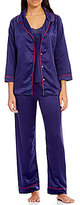 Oscar de la Renta Satin 3-Piece Pajama Set