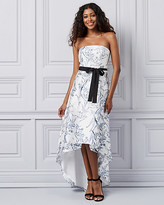 Le Château Floral Print Satin Off-the-Shoulder Gown