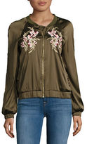 Design Lab Lord & Taylor Embroidered Bomber Jacket